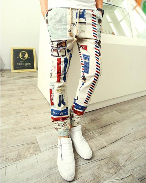 2015 Novo Design Da Marca Esses dias Calças dos homens casual decorado harém calças dos homens corredores longos estilo print floral hip hop calças
