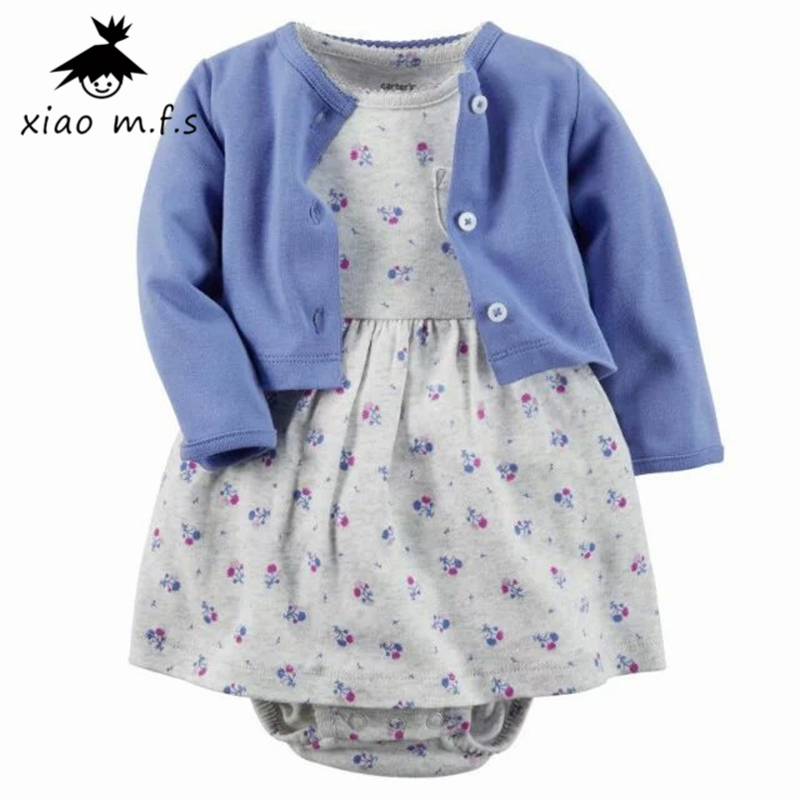 Baby Girl Infant 2pcs Clothing Sets Suit Princess Jumpsuit/Romper Dress+Long Sleeve Coat Costumes Vestido 9 Colors MFS-4057 new baby girl clothing sets lace tutu romper dress jumpersuit headband 2pcs set bebes infant 1st birthday superman costumes 0 2t