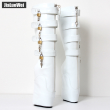 jialuowei brand New ballet boots 18cm/7 Super High heel fashion sexy fetish Wedges Zip Buckle patent leather knee high
