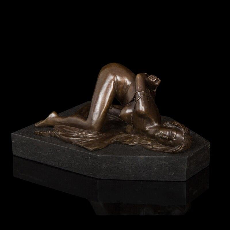 Arts Crafts Copper Western Sexy Slave Nude Girl Bronze Sculpture Sexually Active Bundled Woman Statue Figurine Hot Cast Art Stud