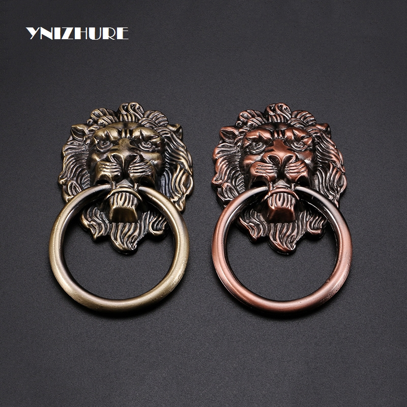 цены на Lion Head Small Single Handle Beast Door Knocker Accessories Cabinet Door Chinese Furniture Antique Pull Hand Bronze Knobs в интернет-магазинах