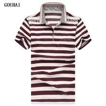 GOUHAI Men Polo Shirts 2019 Summer Striped Polo Shirt Brand Business Mens Fashion Polo Shirts Plus Size M-4XL 5XL