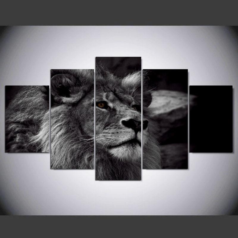 DAFENJINGMO KUNST 5 panel Männlichen löwen brüllt hd kunstdruck ...
