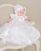 New Baby Infant Girls Christening Dress Baptism Gown White Ivory Lace Satin Sash 0 24month With Bonnet Free Shipping