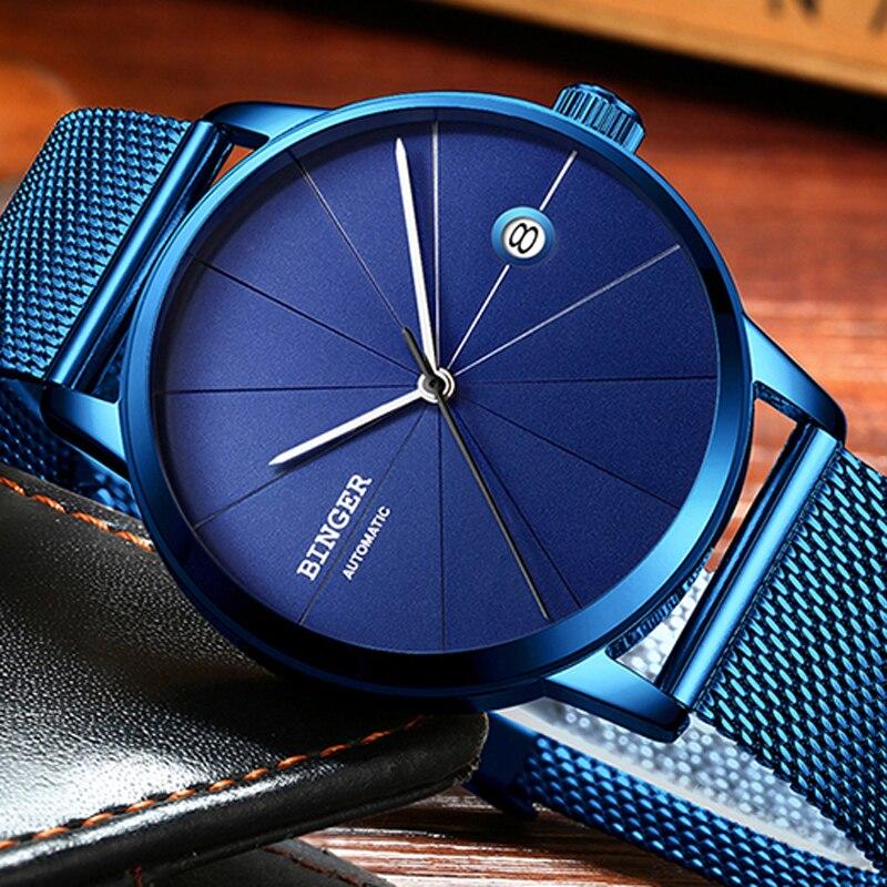 все цены на Switzerland BINGER Luxury Brand Design Ultra-thin Blue Creative Watch Men Top Brand Casual Calendar Automatic Mechanical Watches онлайн