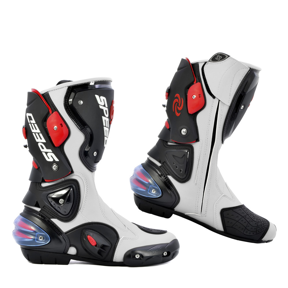 PRO BIKER SPEED BIKERS Motorcycle Boots Moto Racing Motocross Off Road Motorbike Shoes Black White Red