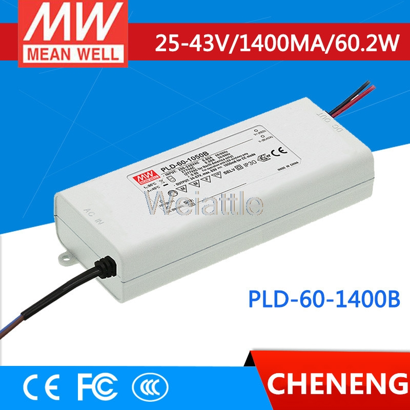 MEAN WELL original PLD-60-1400B 43V 1400mA meanwell PLD-60 43V 60.2W Single Output LED Switching Power Supply pld 1201 pld 1202 pld 1203 pld 1204 pld 1205 pld 1206 pld 2201 pld 2202 pld 2203 dc 12v dc 24v mini water small pump