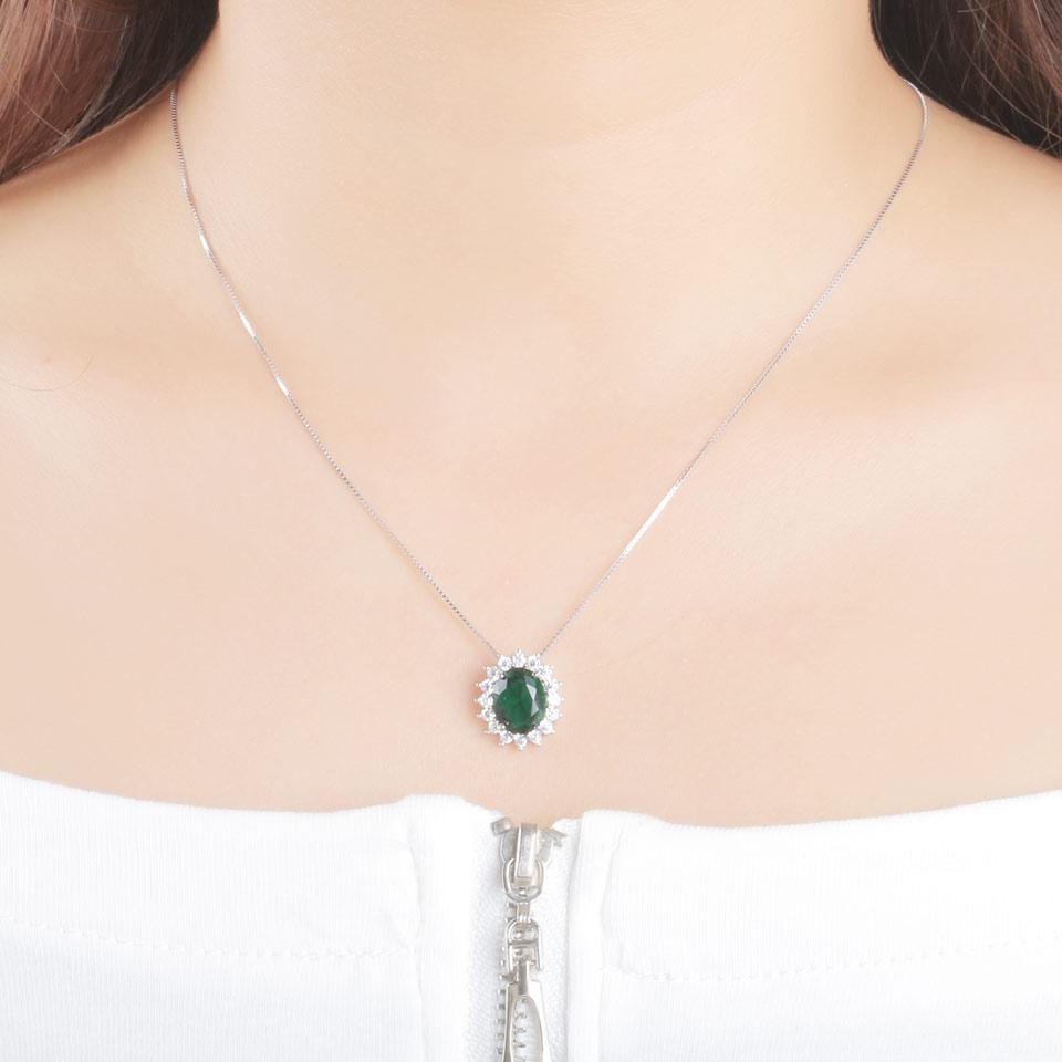 UMCHO Oval 8 * 10mm Gemstone Nano Emerald Privjesak 925 Sterling - Fine nakit - Foto 4