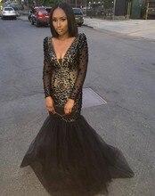 Wunderschöne Long Sleeves Mermaid Abendkleider Perlen Schwarz Kristall Prom Dresses Sexy tiefe v-ausschnitt kleid vestido de festa