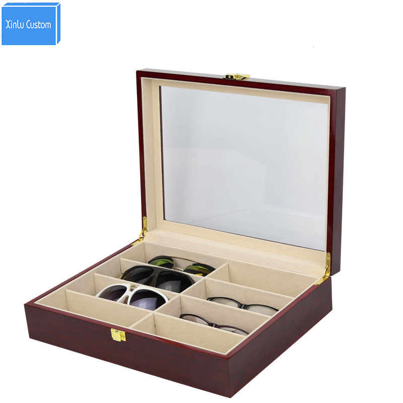 8 Slot Sunglasses Box Glasses case Collect Storgae&Display Wood Window Eyeglasses Case Spectacles Packaging Boxes Red Paint New bowtie decor blue black plastic full rim spectacles glasses eyeglasses frame