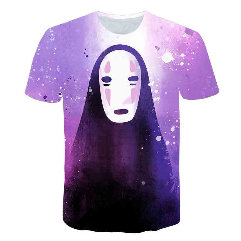 Spirited Away  Asian size mens casual t-shirts The No Face man funny t shirts men t shirts cotton t-shirt Gentle and Quiet