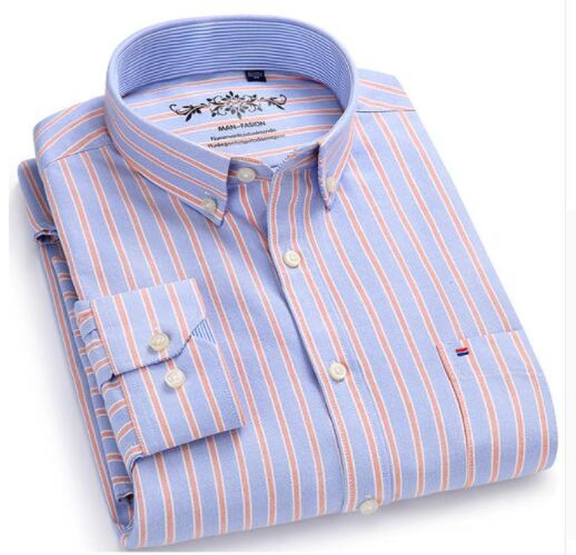 Amandaz Mens Lapel Oxford Dress Casual Plaid Slim Long-Sleeve Button Shirt Formal Top