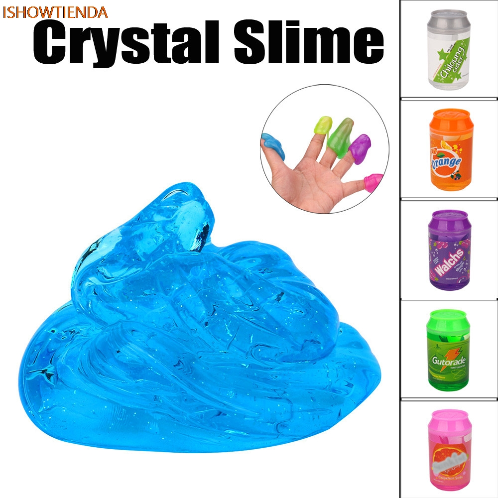 Cans Flash powder Clear Slime Scented Stress Relief Toy Sludge Toys  Clay Toy Gift Slime Plasticine Toys Kid Children Child clear slime fruit slices mixed kawaii soft clay diy slime supplies accessories crystal mud sludge toys for kid stress relief toy