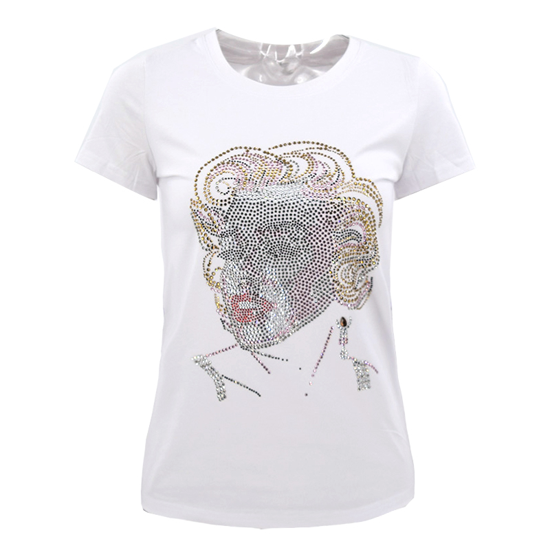 72d43dbb168 New Women short sleeve Marilyn Monroe Rhinestone T shirt Fashion crystal  blingbling women tops stretch women BTS shirt-in T-Shirts from Women s  Clothing on ...