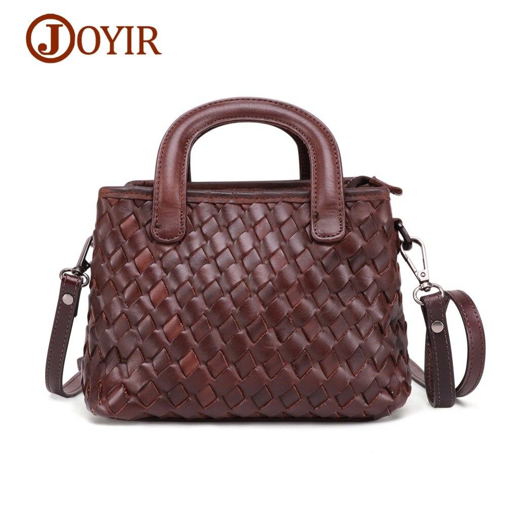 JOYIR Luxury Women Genuine Leather Handbags Ladies Vintage Elegant Weave Shoulder Messenger Bag Cow Handmade Bags