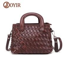 JOYIR Luxury Women Genuine Leather Handbags Ladies Vintage Elegant Weave Shoulder Messenger Bag Cow Leather Handmade Women Bags