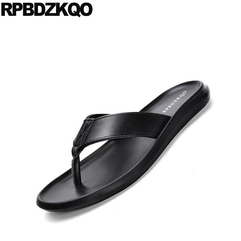Diapositive pattini del progettista degli uomini di alta qualità nero a strisce di marca famosa nativo pistoni di estate genuino sandali di cuoio di vibrazione flop morbido - 5