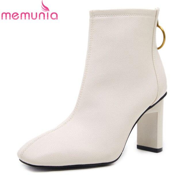 MEMUNIA MỚI đến 2018 phụ nữ giày màu trắng đen chân vuông mắt cá chân khởi động 8 cm dày cao gót giày sexy phụ nữ ăn mặc giày