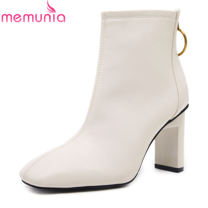 MEMUNIA NEW arrival 2018 ladies boots white black square toe ankle boots 8cm thick high heels boots sexy womens dress shoesMEMUNIA NEW arrival 2018 ladies boots white black square toe ankle boots 8cm thick high heels boots sexy womens dress shoes