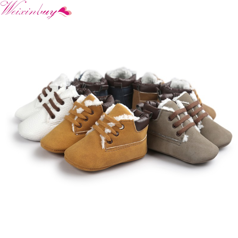Winter Warm Baby Boys Girls Shoes First Walkers Soft Super Warm Soft Bottom Anti-slip Classic Boots