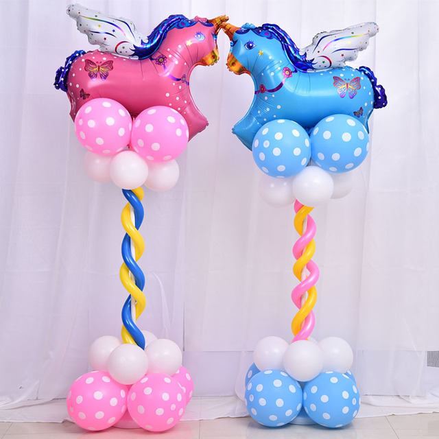 Charming 150CM Unicorn Dolphin Upright Balloons Baby Boy Girl Globos Baby Shower  Birthday Party Decorations Stand Column