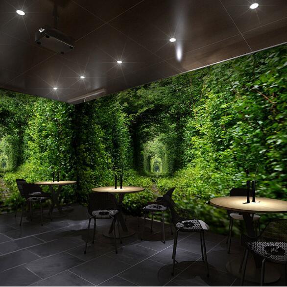 Custom Size Murals Green Tree Leaf Natural Wall Paper Photo Mural for Resturant Coffee Shop Garden Wall Murals 3D Wall Decor