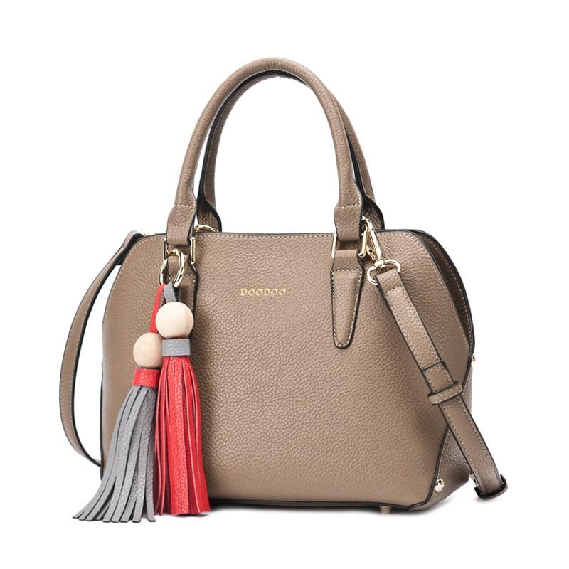 Doodoo Women's Fashion 2 in 1 Set Textured Leather Tote Handbag Versatile Strap Shoulder Crossbody Bag