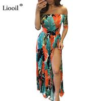 Liooil Feather Print Maxi Dress Sexy Strapless Short Sleeve Club Dress Off Shoulder Bodycon Sides Split Long Summer Dresses