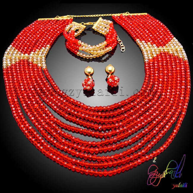 Yulaili 2017 New Jewelry Set  Red And Champagne Beaded Jewelry SetYulaili 2017 New Jewelry Set  Red And Champagne Beaded Jewelry Set