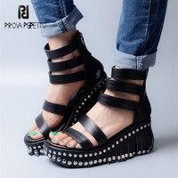 Prova Perfetto Black Genuine Leather Women Platform Wedge Sandals Rivets Fringed Women Ankle Straps Gladiator Sandal