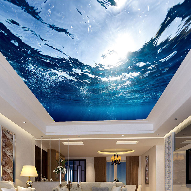 Custom Any Size 3D Mural Wallpaper Wall Cloth Underwater World Sea Water Living Room Bedroom Ceiling Fresco Waterproof Wallpaper