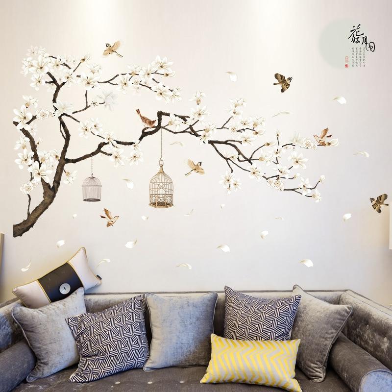 2pcs/set 3D White Peach Birdcage Flowers Wall Stickers Home Decor ...