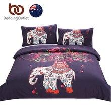 BeddingOutlet Boho Bedding Set Elefante Árbol Negro Impreso Bohemia AU Individual Doble Queen Size Funda Nórdica con Fundas de Almohada Suave
