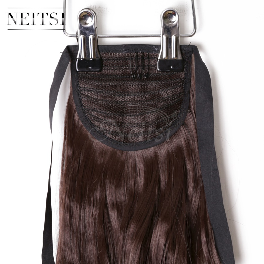 Купить с кэшбэком Neitsi Curly Long Clip In Hair Tail False Hair Ponytail Hairpiece With Hairpins Synthetic Hair  33#