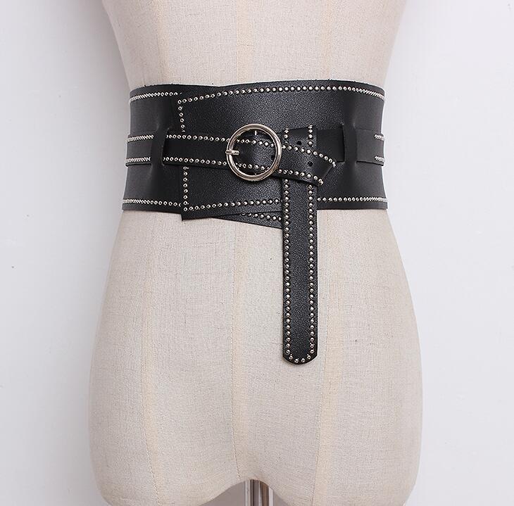 Women's Runway Fashion Wide PU Leather Cummerbunds Female Shirt Dress Corsets Waistband Belts Decoration Wide Belt R895