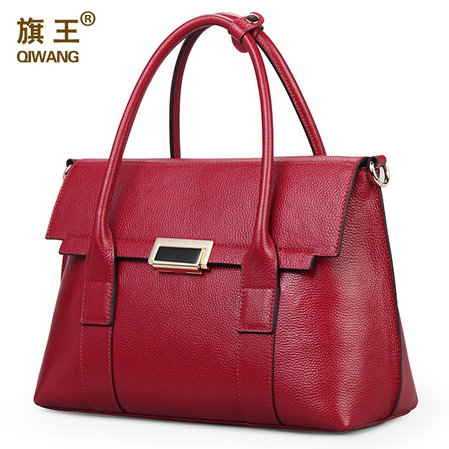 Qiwang Large Size Handbag Retro Bag Real Leather Brand Tote Bag Flap Closure Fashion Metal Lock Luxurious Handbag Purse Women