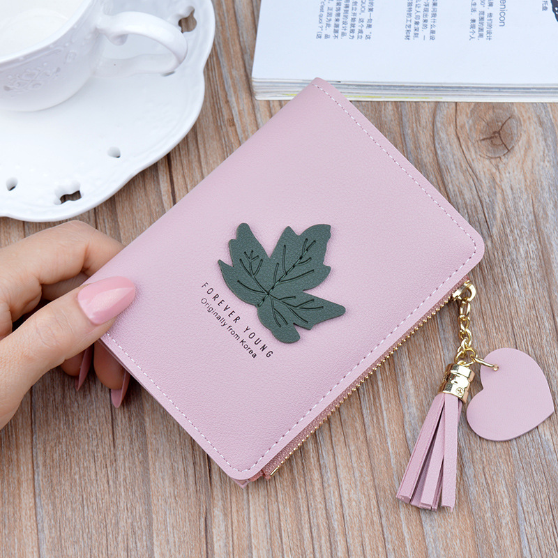 New Women's Wallet Female Student Short Zipper Purses Carteira Fashion Leaf Fringed Purse Small Wallet Woman Portefeuille Femme
