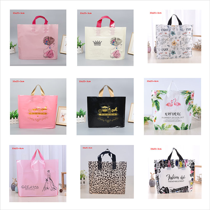 Thick Large Plastic Shopping Bags Thick Boutique Gift Clothing Packaging Plastic Gift Bag With Handle 10pcs Multiple Patterns
