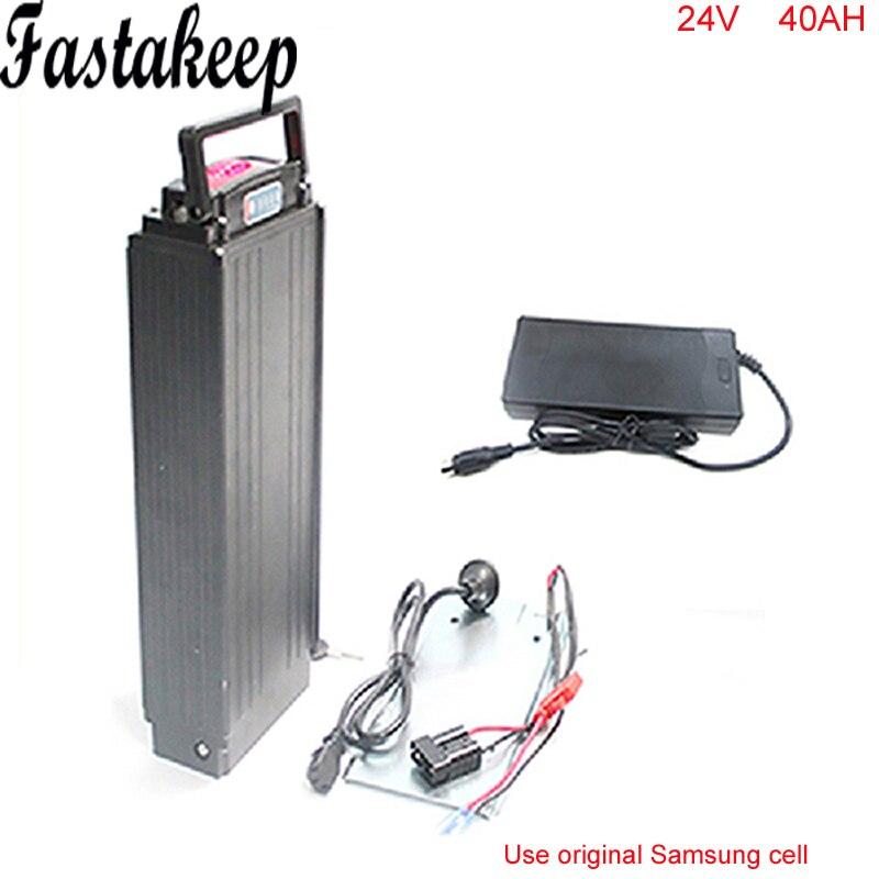700 w Bateria de Transporte Traseiro em Liga de Alumínio Caso 24 v 40AH Rack Traseiro da bicicleta Elétrica Bateria Li-ion Com Carregador para Samsung celular
