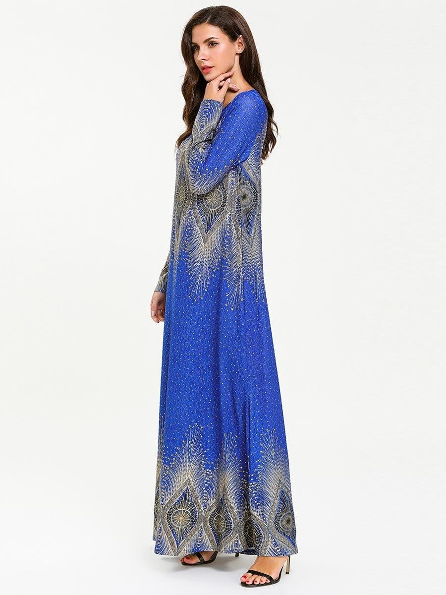 New turkish women abaya dress hot stamping Printing Islamic clothing for women muslim dress robe adult 7726#