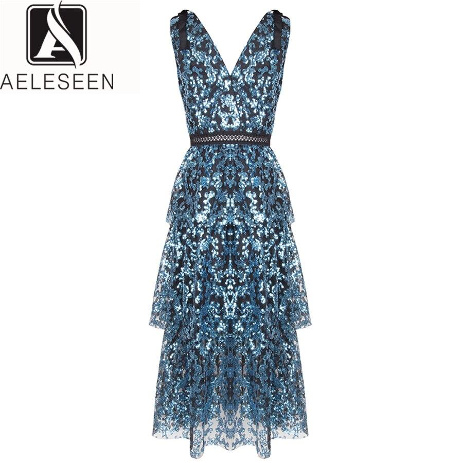 AELESEEN Designer Robe 2019 D'été de Femmes Sans Manche De Mode V-cou De Luxe Club Midi Parti Élégant Bleu Sexy Paillettes Robe