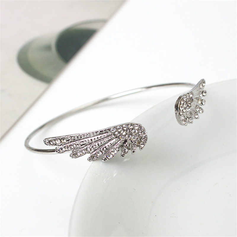 Angel wings crystal bracelet personality alloy opening flash drill bracelet    8BD08 2