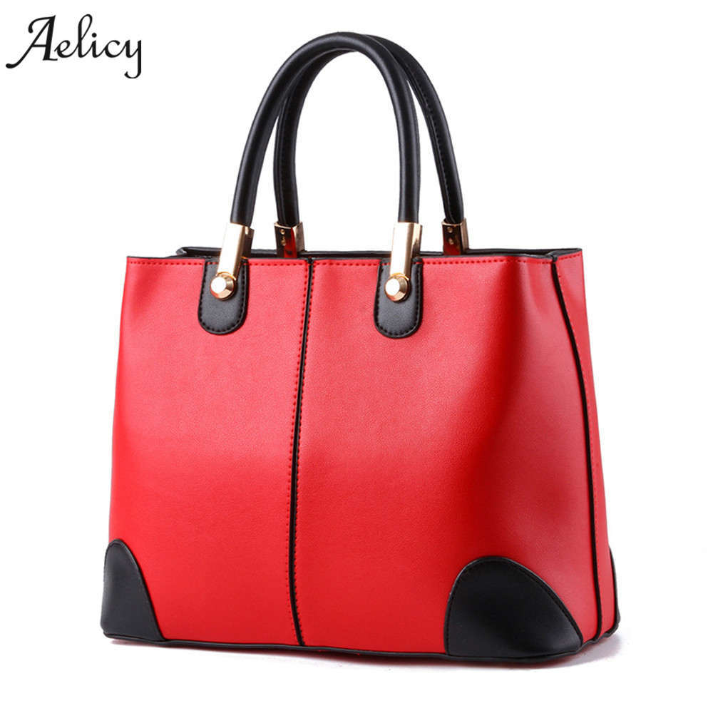 Aelicy Leather Top-Handle Bags Handbags Women Famous Brands Lady in Black and White Ladies Fashion Handbags Shoulder Bag Female four arrows lady top handle bags handbags women famous brands female stitching casual big shoulder bag tote for girls l4 3046