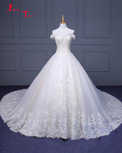 Jark Tozr Off The Shoulder Short Sleeve Lace Up Chapel Train Gorgeous China Bridal Wedding Dress With Petticoat Vestido Noiva