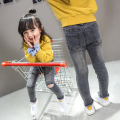 2016 new Korean girls jeans baby spring section hole jeans autumn pants