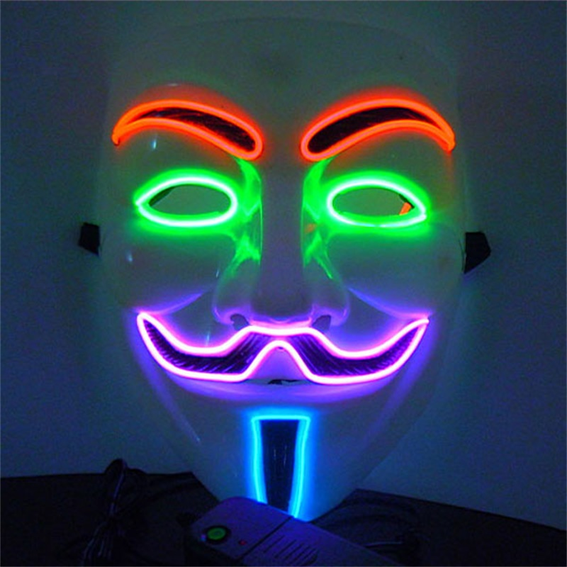 Cosplay Costume Mask El Wire Glowing Mask Fashion Carnival Dancing ...