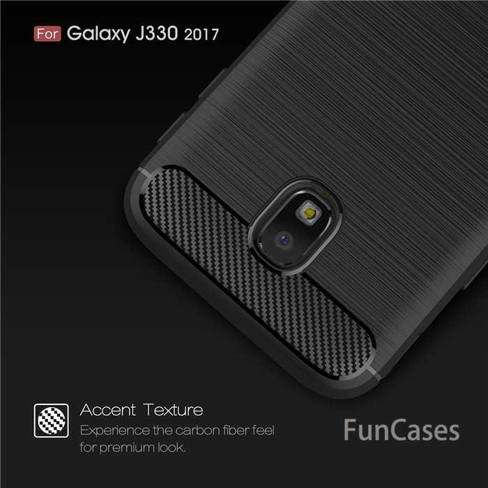 Dla Samsung Galaxy J3 2017 SM-J330F przypadku hybrydowy wytrzymały pancerz przypadku szczotkowanego włókna węglowego pokrywa dla J3 pro 2017 J330 ue wersja torba