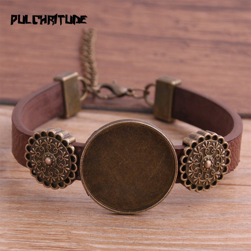 1pcs 6 Color PU Bracelet Bronze Round Base Setting Cuff Blank Trays Brazel Fit 25mm Glass Cameo Dome Cabochon DIY Jewelry