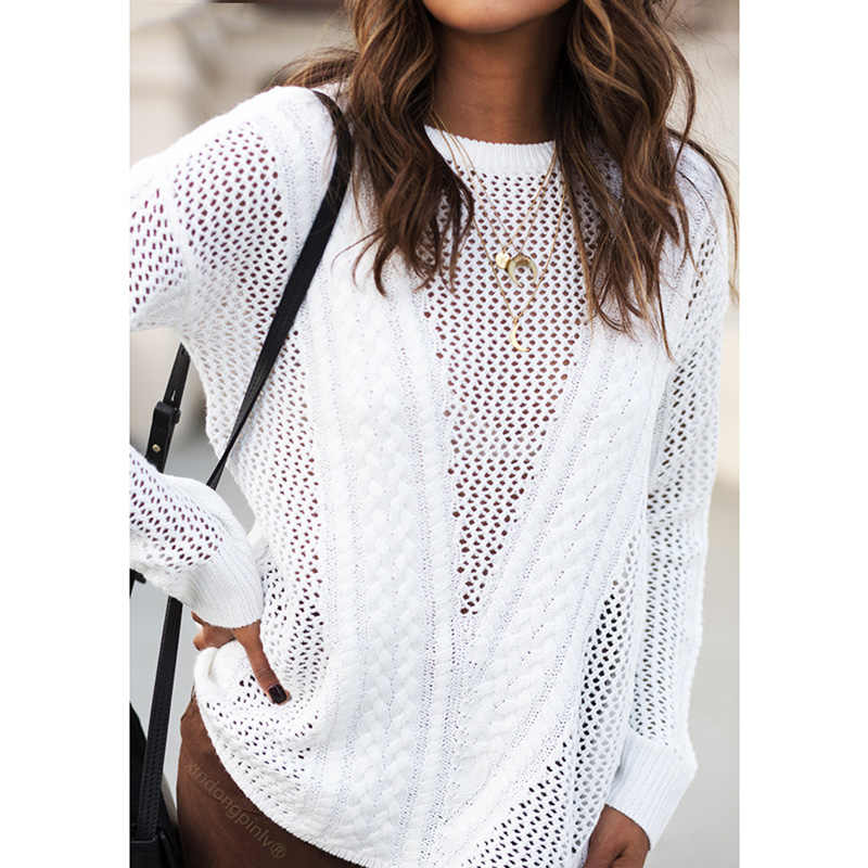 Women Knitted Sweater Hollow Out Long Sleeve Thin Solid Loose Jumper female Pullover Knitwear Korean Fashion Tops White/Grey