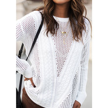 Fashion Women Knitted Sweater Hollow Out Long Sleeve Thin Solid Loose Jumper female Pullover Knitwear Korean Tops White/Grey(China)